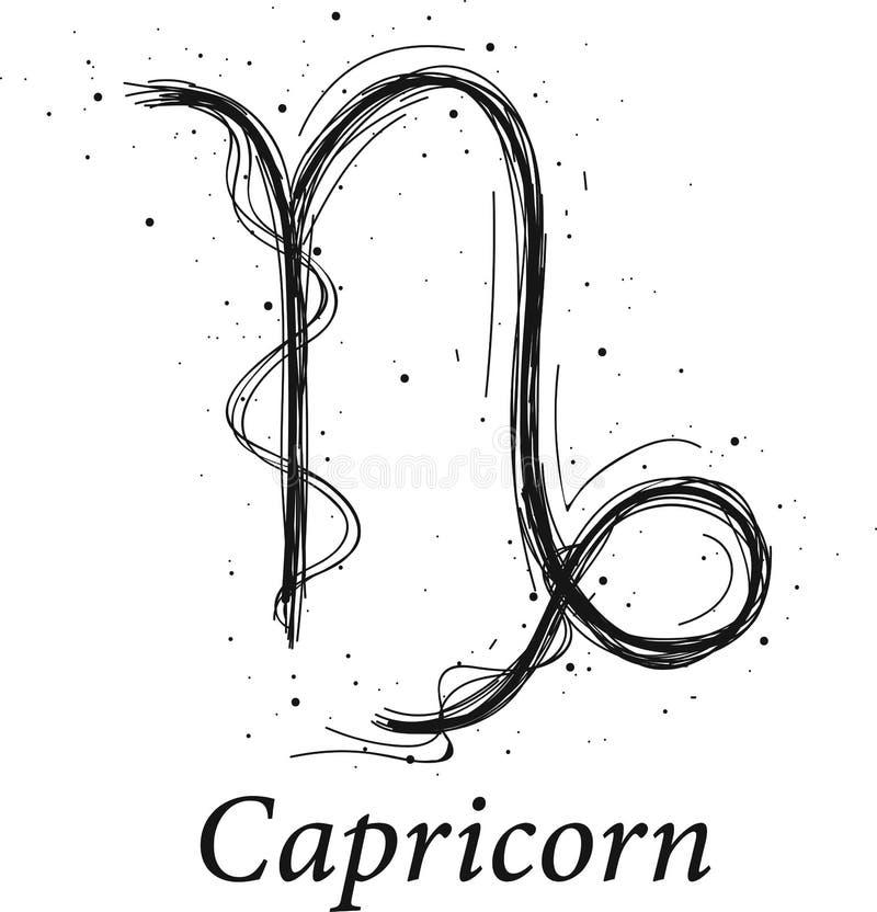 Muestra de la astrología del Capricornio, horóscopo exhausto de la mano stock de ilustración