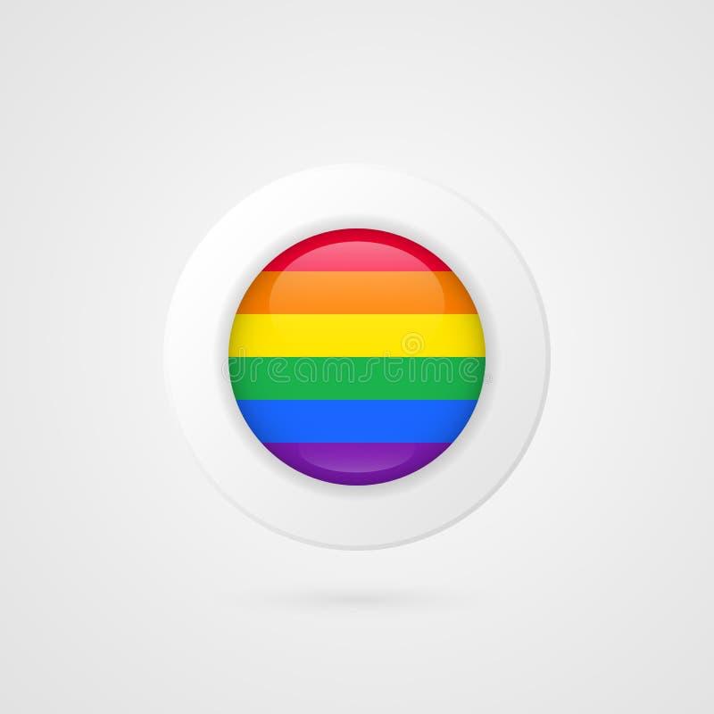 Muestra de la bandera del vector LGBT Símbolo bisexual gay lesbiano aislado del círculo del arco iris del transexual Icono brilla ilustración del vector