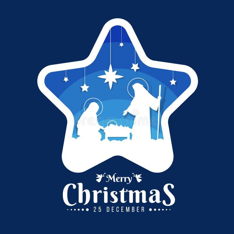 Muestra de la bandera de la Feliz Navidad con el paisaje nocturno Maria y José de la Navidad en un pesebre con el bebé Jesuson en libre illustration
