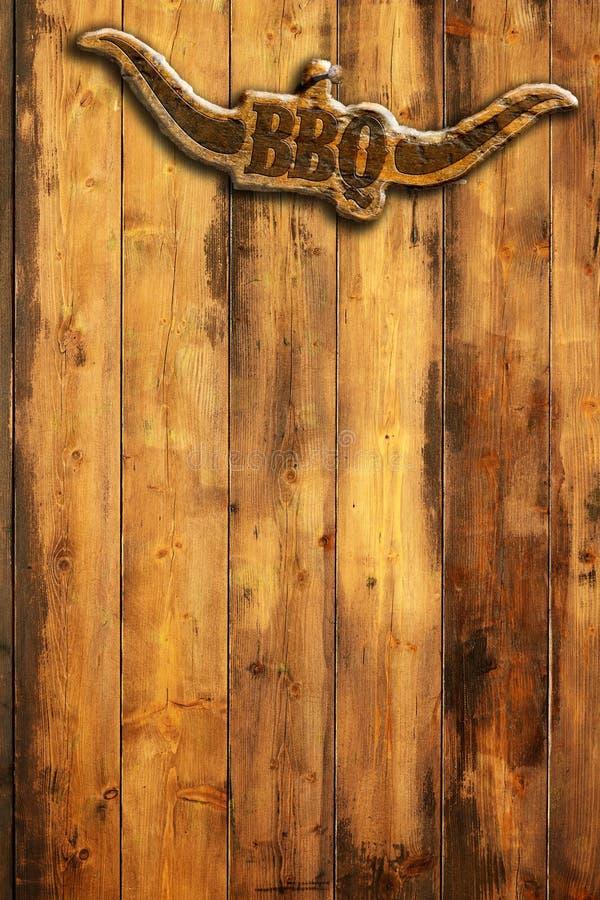 Muestra de la barbacoa en la pared de madera ilustración del vector
