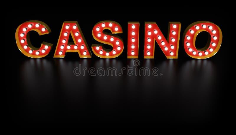 Muestra de la bombilla de la palabra del casino stock de ilustración