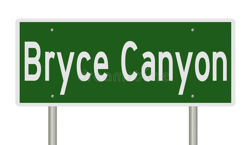 Muestra de la carretera para Bryce Canyon stock de ilustración