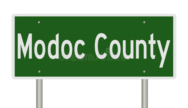 Muestra de la carretera para el condado de Modoc en California ilustración del vector