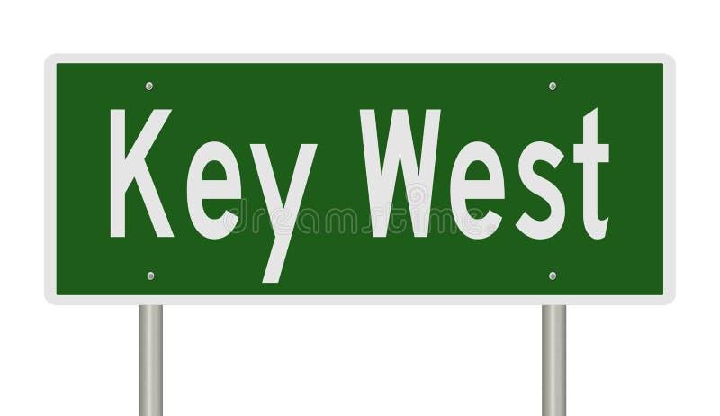 Muestra de la carretera para Key West la Florida ilustración del vector