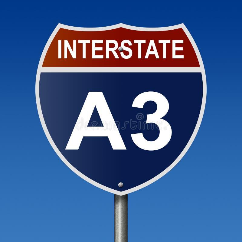Muestra de la carretera para la ruta de un estado a otro A3 stock de ilustración