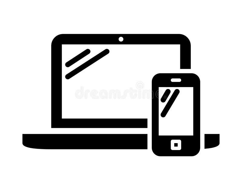 Muestra de la computadora portátil y del teléfono móvil ilustración del vector