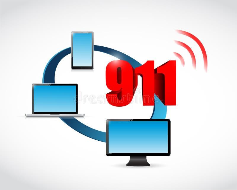 muestra de la comunicación de 911 tecnologías ilustración del vector