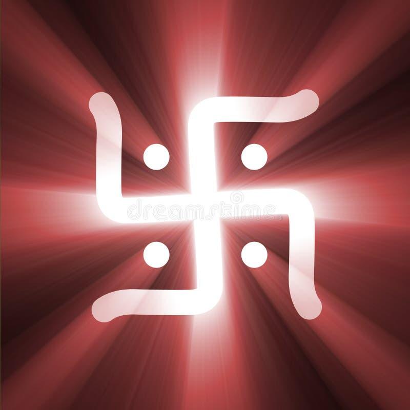 Muestra de la cruz gamada del Hinduismo de la llamarada de la luz del éxito stock de ilustración