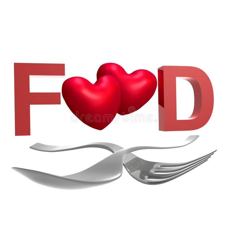 Muestra de la cuchara y de la fork para los amantes del alimento stock de ilustración