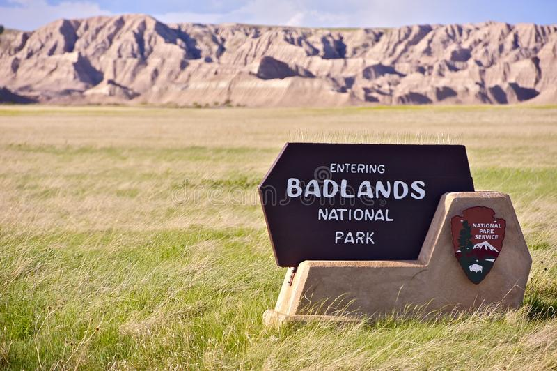 Muestra de la entrada de los Badlands fotografía de archivo libre de regalías