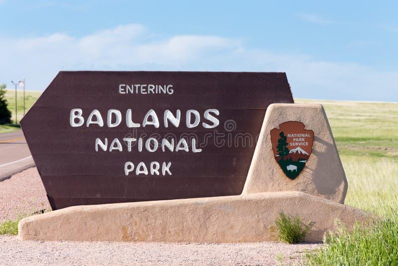 Muestra de la entrada del parque nacional de los Badlands foto de archivo