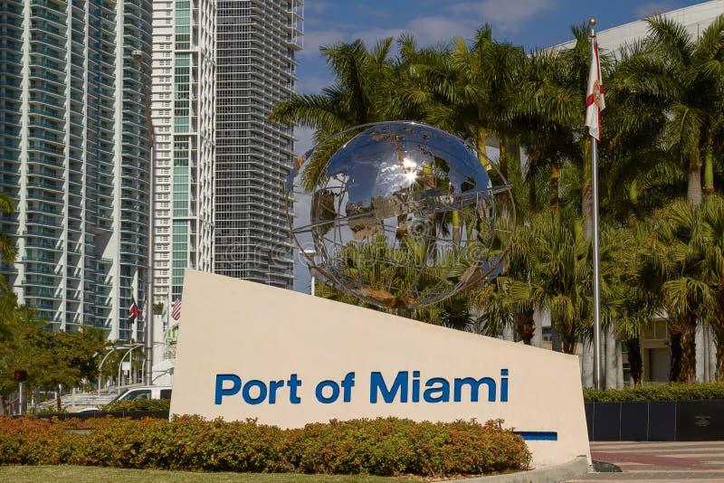 Muestra de la entrada del puerto de Miami foto de archivo libre de regalías