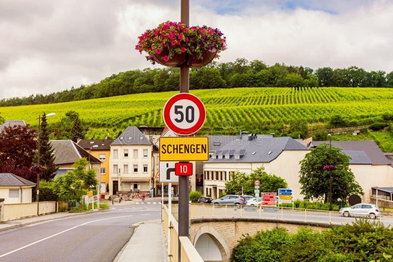 Muestra de la entrada a Schengen Luxemburgo foto de archivo