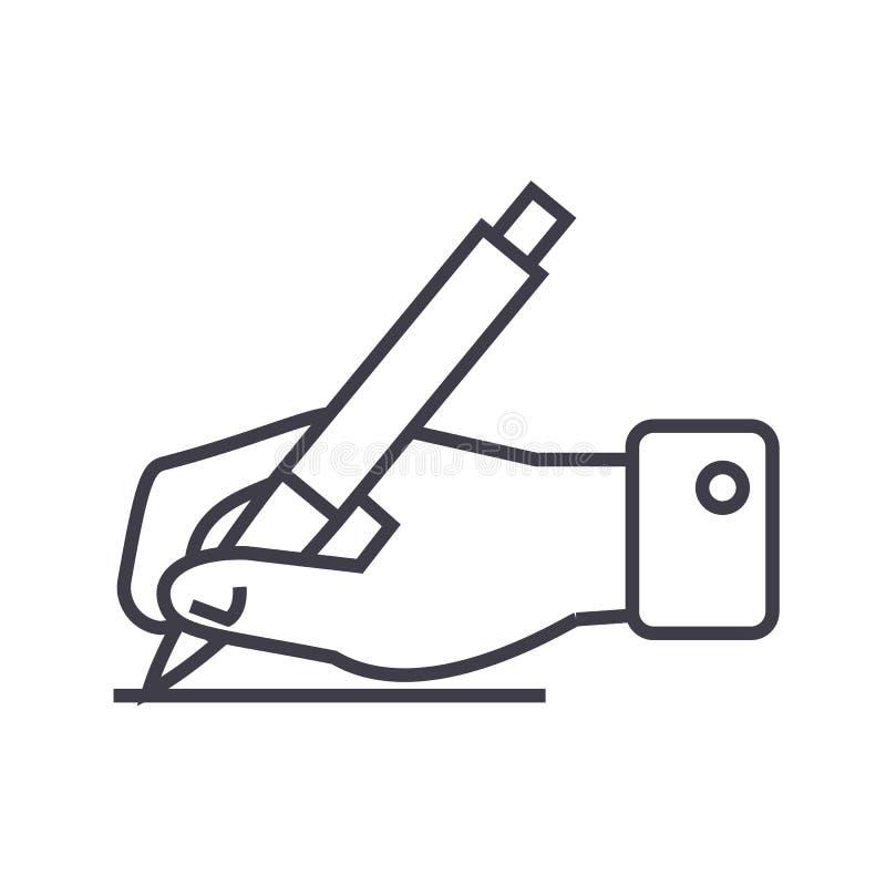 Muestra de la escritura, mano con la línea icono, muestra, ejemplo del vector de la pluma en el fondo, movimientos editable ilustración del vector