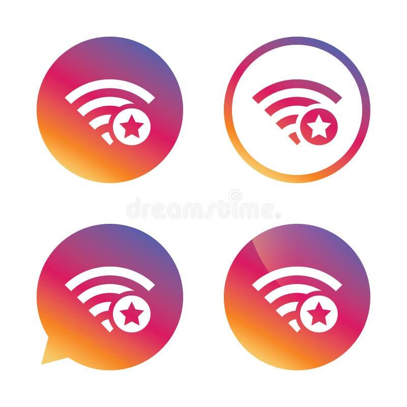 Muestra de la estrella de Wifi Símbolo preferido de Wi-Fi wireless stock de ilustración