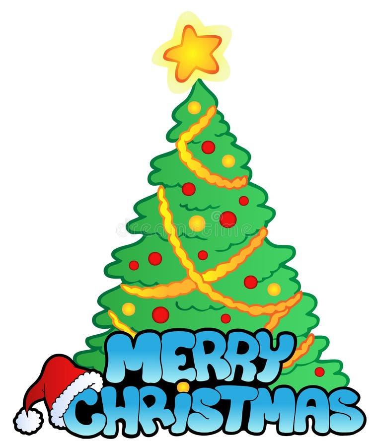 Muestra de la Feliz Navidad con el árbol libre illustration
