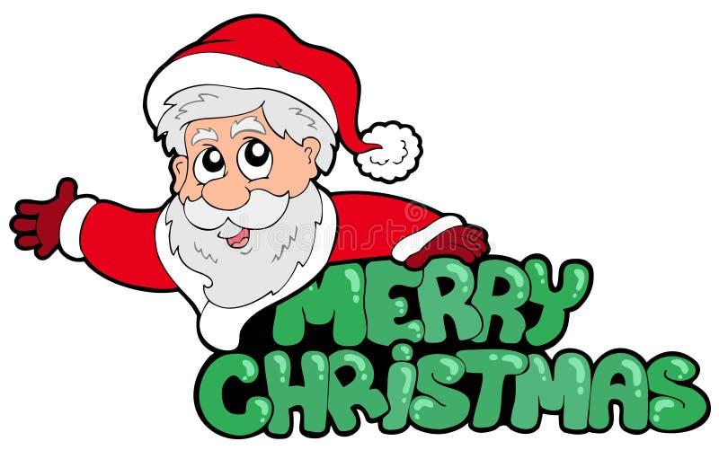 Muestra de la Feliz Navidad con Santa libre illustration