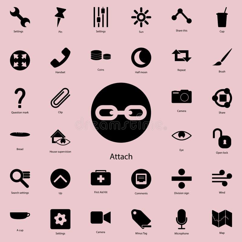 muestra de la fijación en icono redondo Sistema detallado de iconos minimalistic Diseño gráfico superior Uno de los iconos de la  ilustración del vector