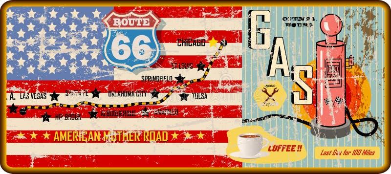 Muestra de la gasolinera de la ruta 66 y mapa de camino sucios, vector sucio retro libre illustration
