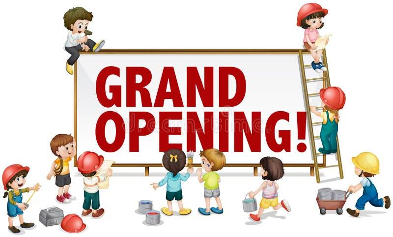 Muestra de la gran inauguración con los niños que construyen al tablero libre illustration