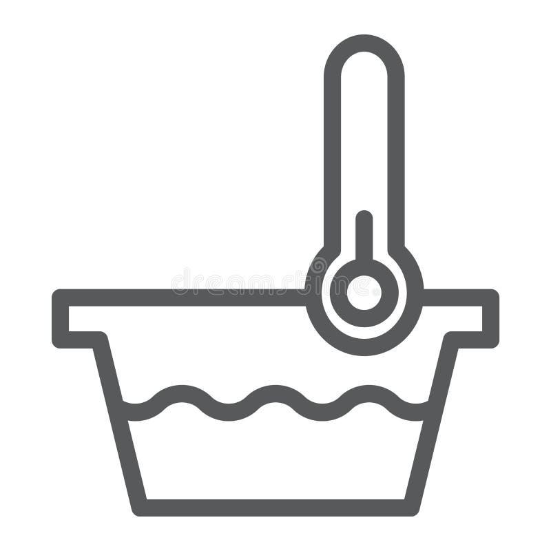 Muestra de la línea icono, del indicador y del lavado, del termómetro y del lavabo de la baja temperatura, gráficos de vector, un stock de ilustración