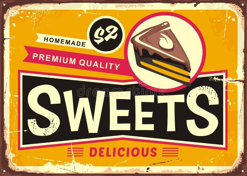 Muestra de la lata del vintage de los dulces y de las tortas libre illustration