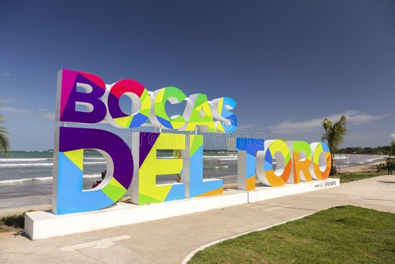 Muestra de la letra de molde de la playa de Bocas Del Toro Caribbean Archipelago Panama imagen de archivo libre de regalías