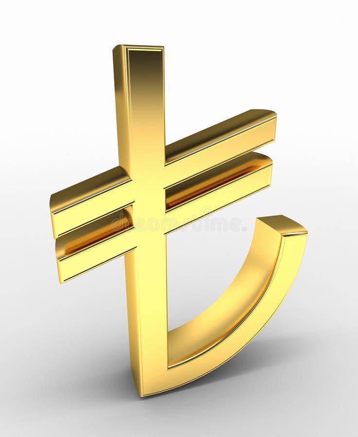 Muestra de la lira turca del oro ilustración del vector
