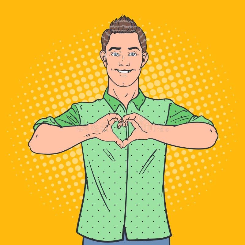 Muestra de la mano de Art Happy Man Showing Heart del estallido Fondo cómico del estilo del gesto del amor libre illustration