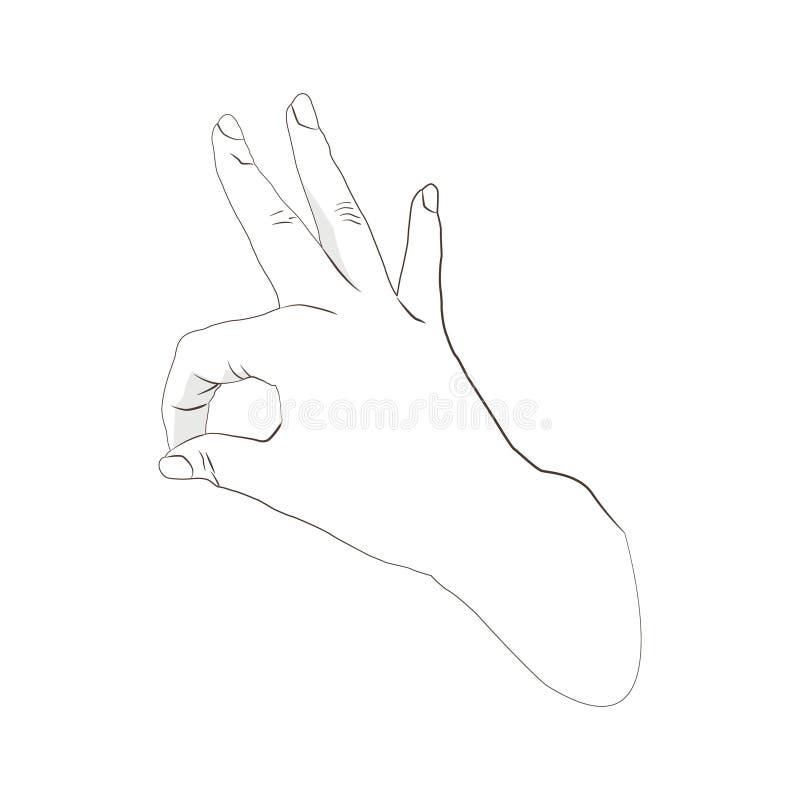 Muestra de la mano de la AUTORIZACIÓN del arte pop aislada en el fondo blanco libre illustration