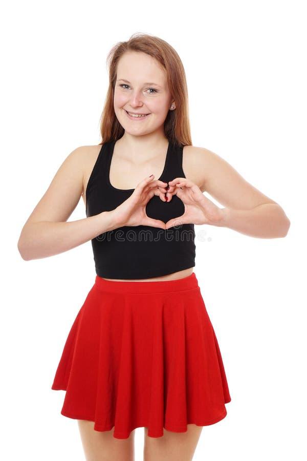 Muestra de la mano de la forma del corazón foto de archivo libre de regalías