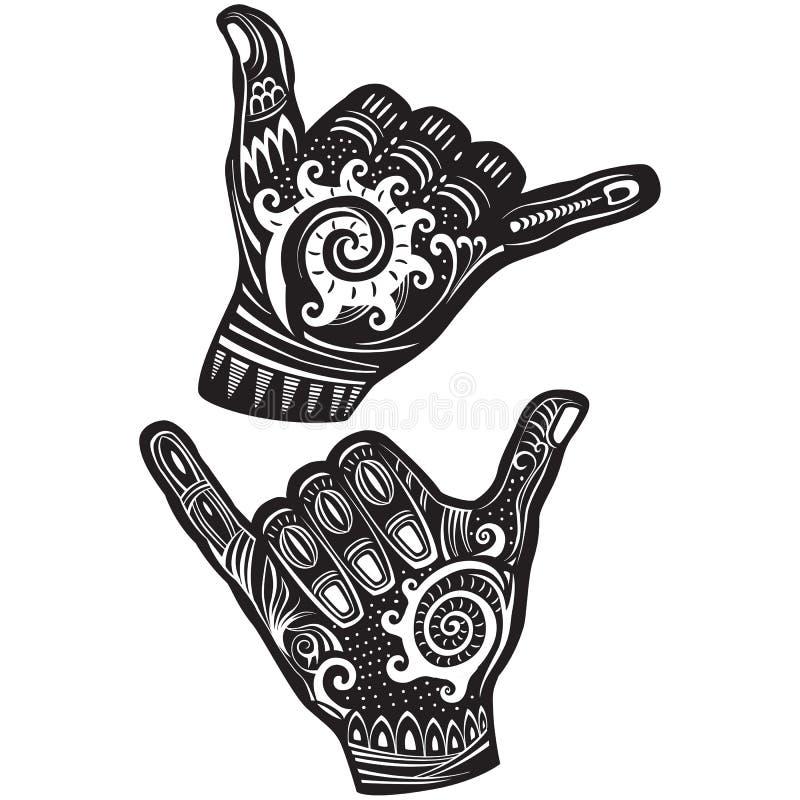 Muestra de la mano de la resaca de Shaka stock de ilustración