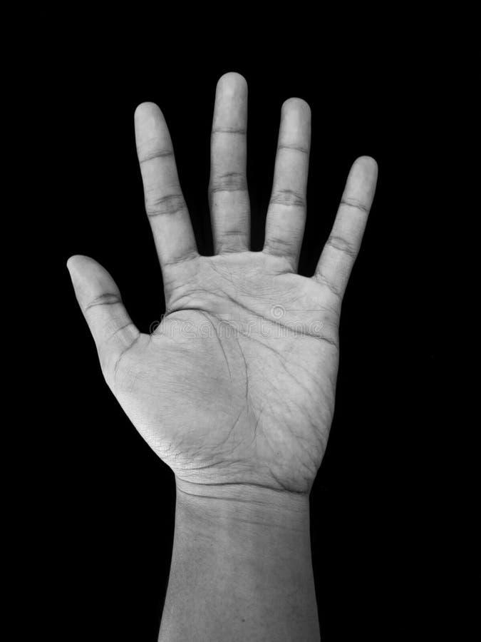Muestra de la mano del número cinco, aislada en fondo negro foto de archivo