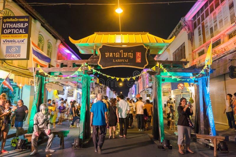 Muestra de la manteca de cerdo Yai Hay viejo mercado de la noche de la ciudad en Phuket, Tailandia fotografía de archivo