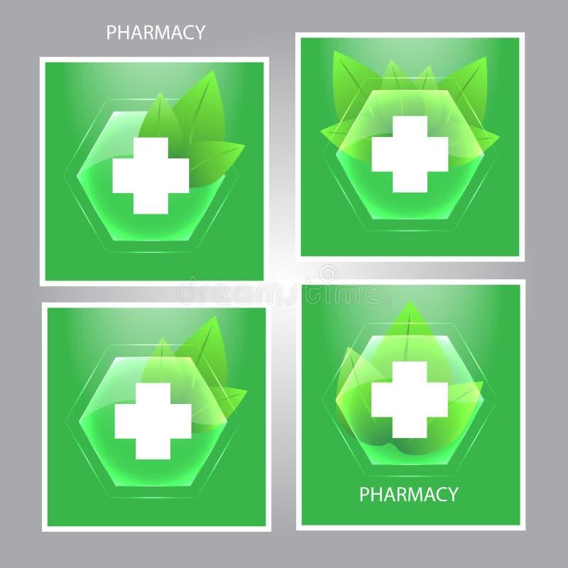 muestra de la medicina Emblema médico de las hojas de la cruz y del verde Hea del símbolo libre illustration