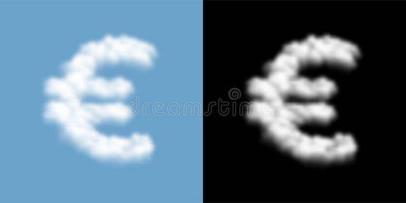 Muestra de la moneda EUR modelo y de la nube o del humo euro europea del símbolo, ejemplo transparente del concepto de las finanz libre illustration