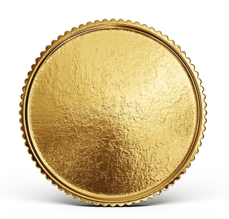 Muestra de la moneda de oro aislada en un backgrond blanco ilustración del vector