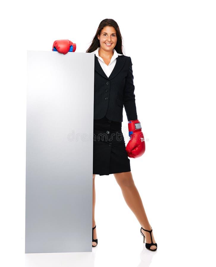 Muestra de la mujer de negocios del boxeo imagen de archivo libre de regalías