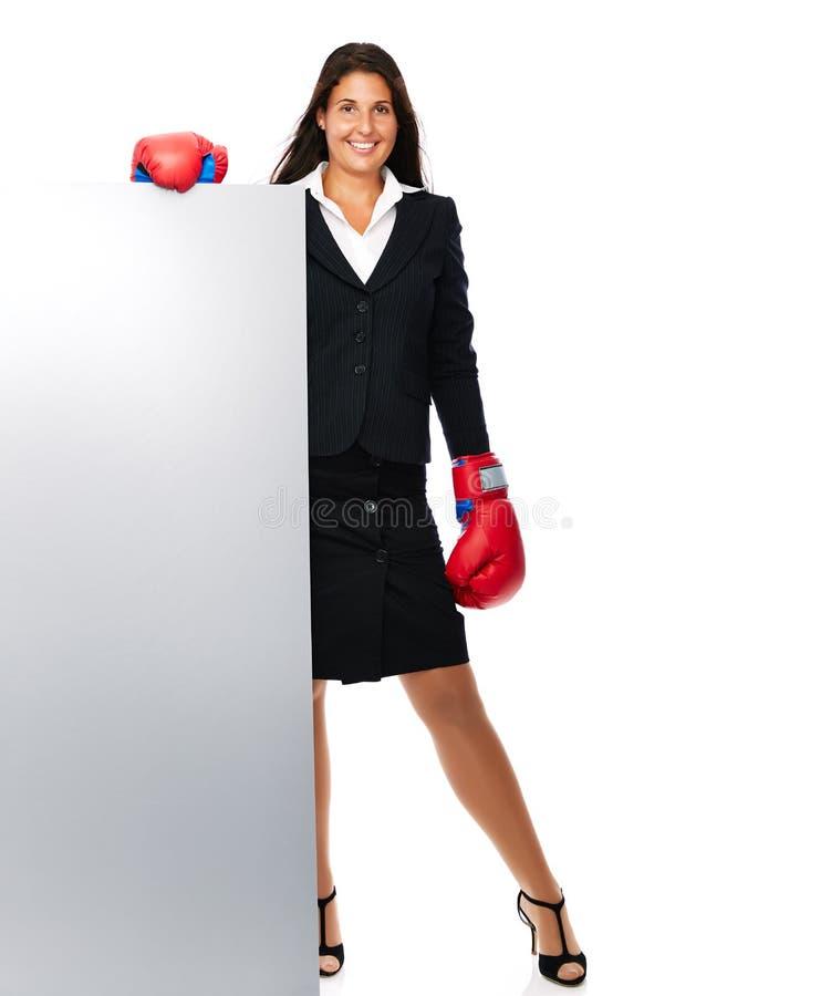 Muestra de la mujer de negocios del boxeo imágenes de archivo libres de regalías