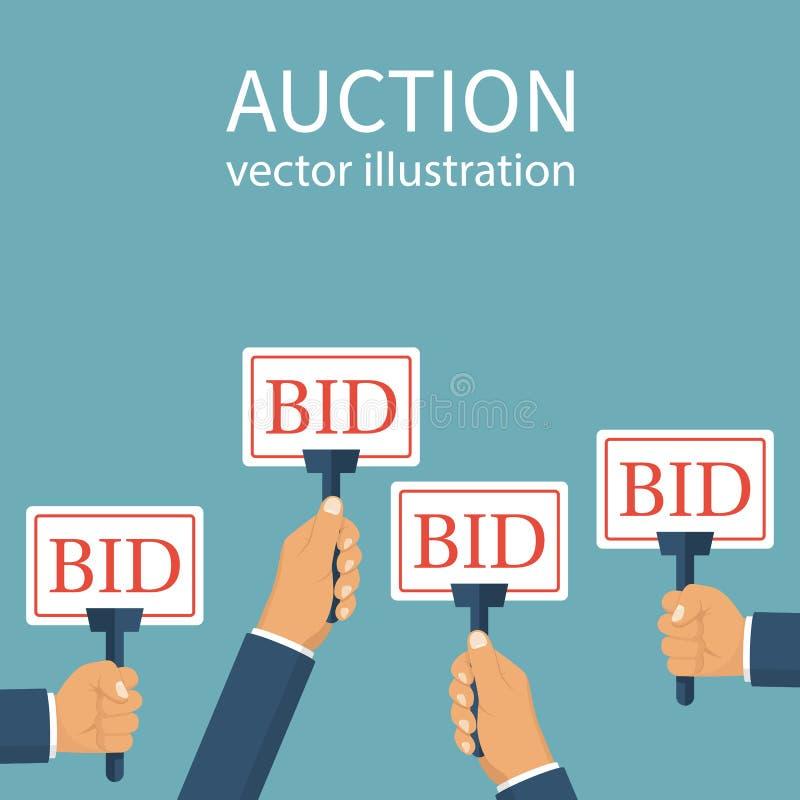 Muestra de la oferta a disposición de la gente stock de ilustración