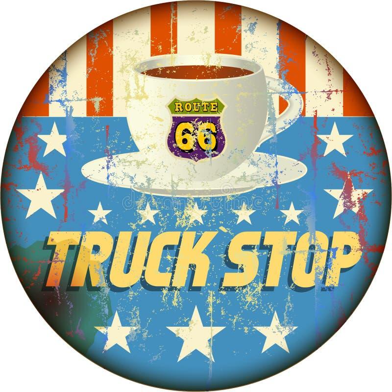 Muestra de la parada de camiones del esmalte de Route 66 libre illustration