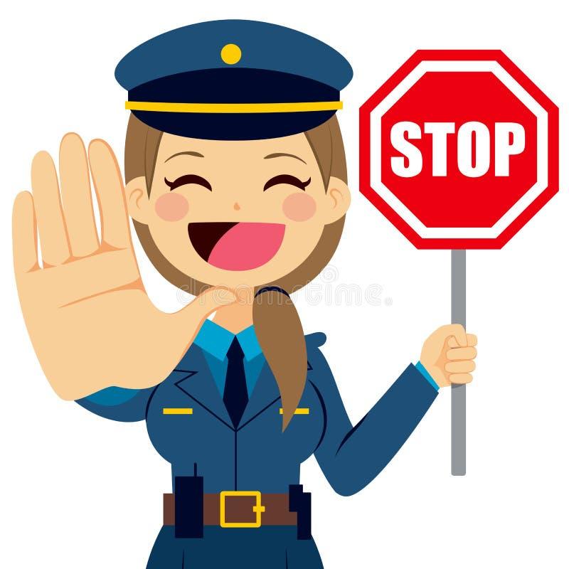 Muestra de la parada de la mujer policía ilustración del vector