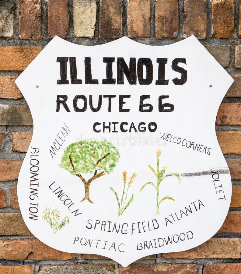 Muestra de la pared de Route 66 que muestra las ciudades a lo largo de la ruta en estado en fotos de archivo libres de regalías