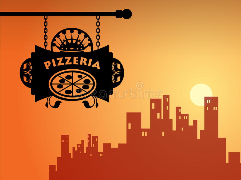 Muestra de la pizzería ilustración del vector
