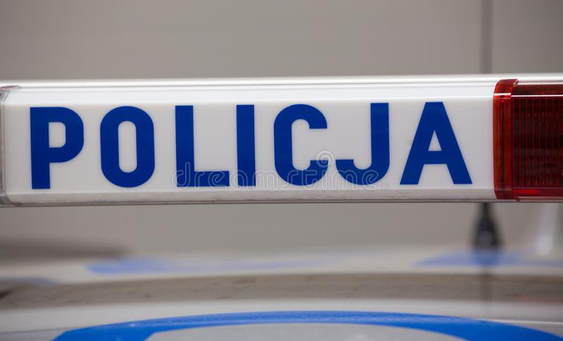 Muestra de la policía de un coche policía imagen de archivo