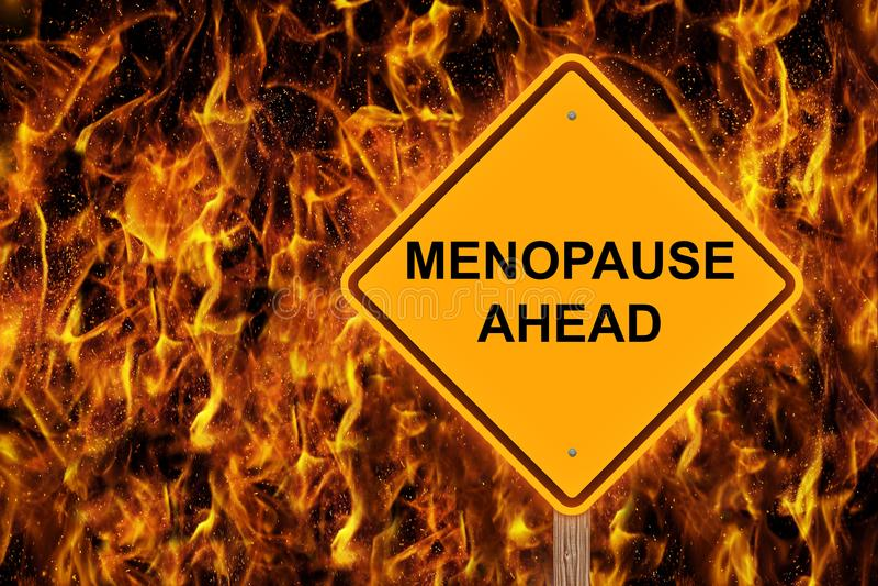 Muestra de la precaución de la menopausia a continuación fotografía de archivo