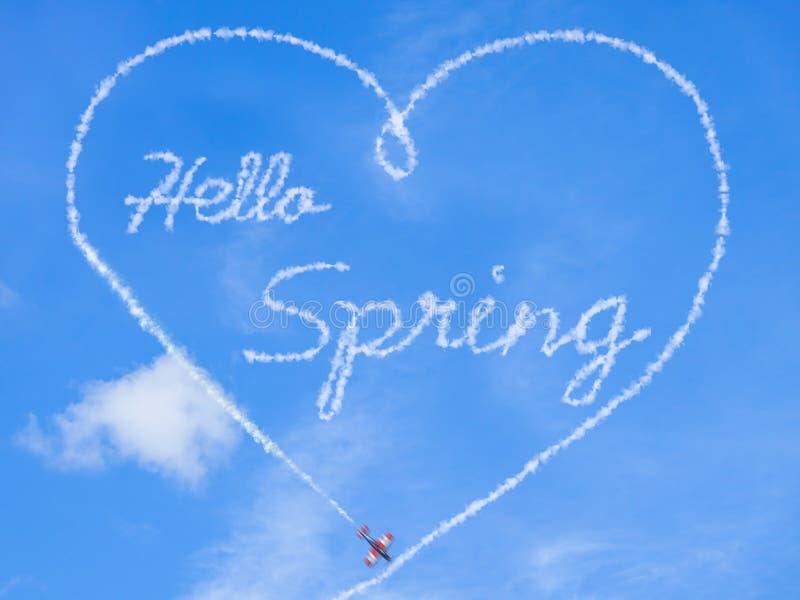 Muestra de la primavera Hola primavera imagenes de archivo