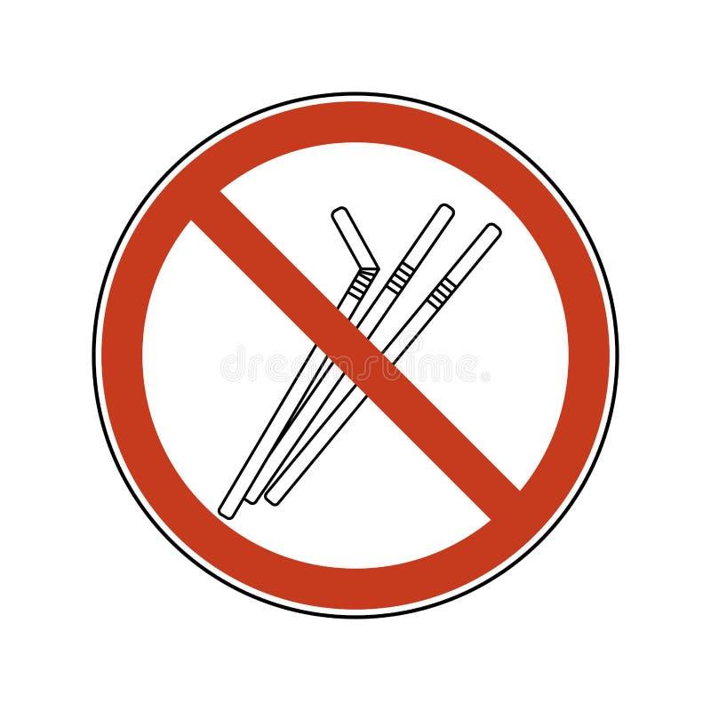 Muestra de la prohibición con la paja Cubiertos pl?sticos no reutilizables Sistema del ejemplo del vector de la prohibición del l ilustración del vector