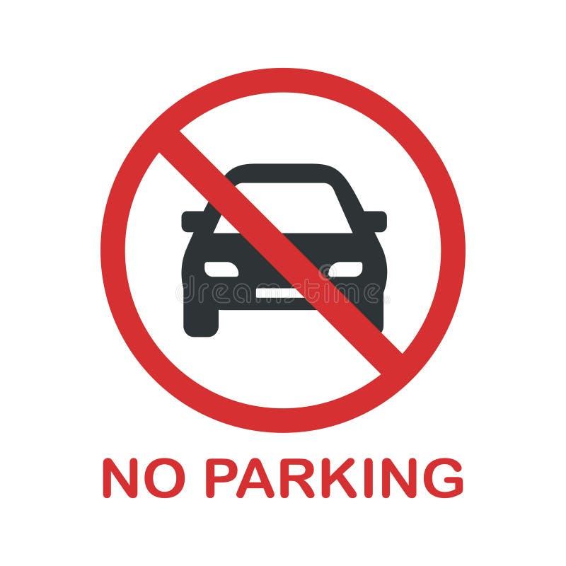Muestra de la prohibición del estacionamiento prohibido Usted no puede parquear un coche aquí stock de ilustración