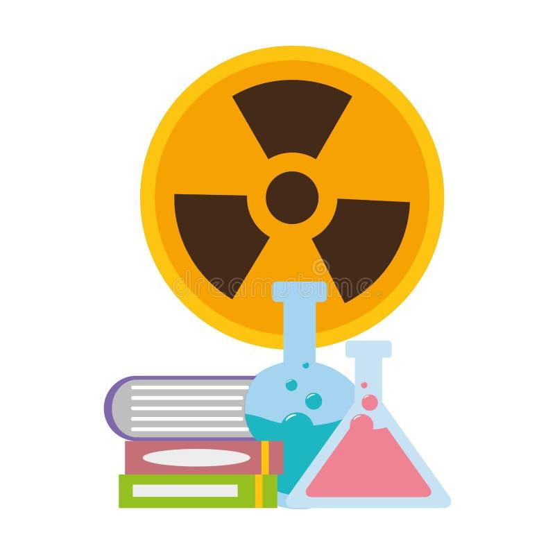 Muestra de la radiación de los libros de los frascos stock de ilustración